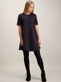 Purple Snake Jacquard Shift Dress