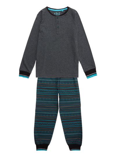 Grey Aqua Marl and Fairisle Pyjama Set (4-14 years)