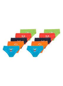Boys Multicoloured Monster Faces Briefs 10 Pack (18 months - 6 years)