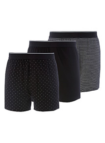 3 Pack Black Printed Jersey Boxers