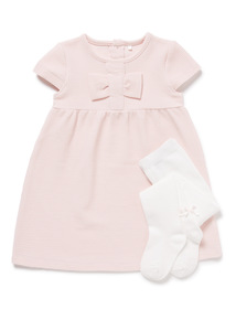 Pink Ponte Dress and Tights Set (0-24 months)