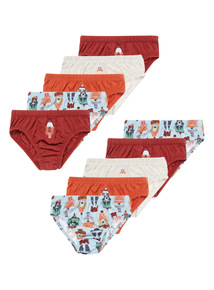 10 Pack Multicoloured Little Rocky Briefs (3-14 years)