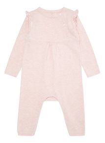 Pink Frill Knitted Romper (0-12 months)