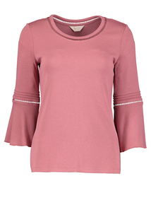 Premium Pink Fluted Sleeve Jersey Top