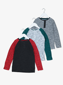 Multicoloured Ribbed Long-Sleeved Tops 3 Pack (9 Months - 6 Years)