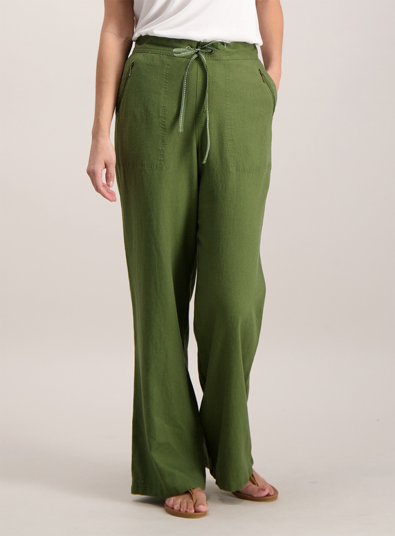 outlet boutique outlet online to buy Womens Khaki Green Linen Trousers | Tu clothing