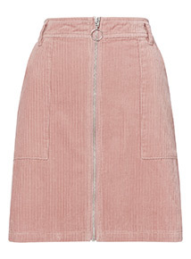 Corduroy Zip Through Skirt