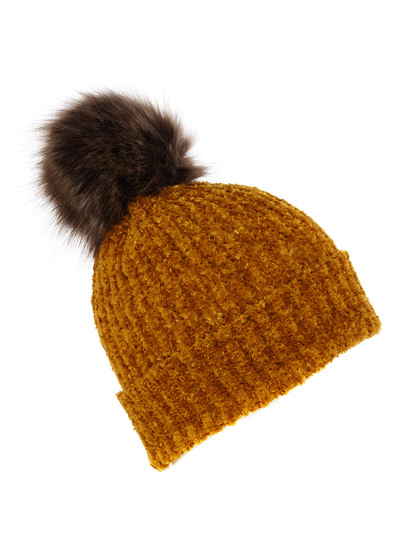 Chenille Fur Pom Hat