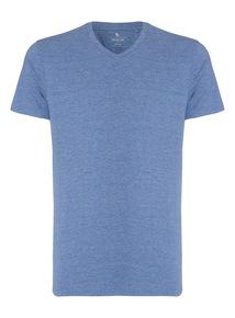 Light Blue Basic V-neck T-shirt