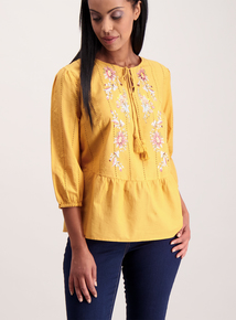 Yellow Embroidered Detail Blouse