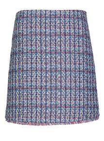 Blue Jacquard Mini Skirt