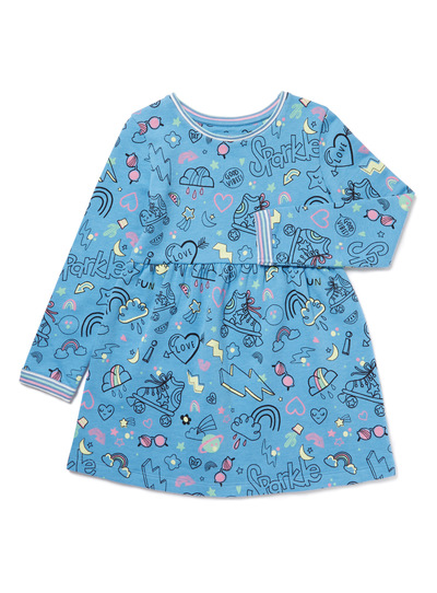 Blue Good Vibes Printed Sweat Dress (9 months-6 years)