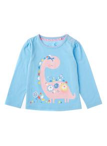 Girls Blue Dinosaur Top (0-24 months)