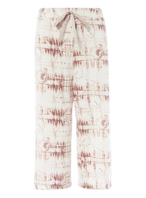 Oatmeal Floral Crop Trouser