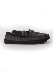 3M Thinsulate Grey & Black Herringbone Slippers