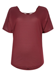 Dark Red Textured Cut Out Spa Tee