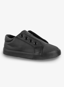 6c6869414ec18 Black No Lace Leather Look Trainers (6 Infant - 4)