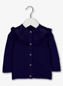 Navy Cardigan With Crochet Detail (0-24 months)