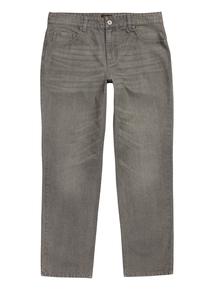 Grey Straight Wash Denim Jeans