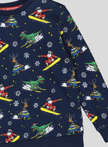 Christmas Dinosaur & Santa Claus Patterned Long-Sleeved Jumper (3-14 Years)