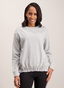 Grey Plain Ruched Sweatshirt