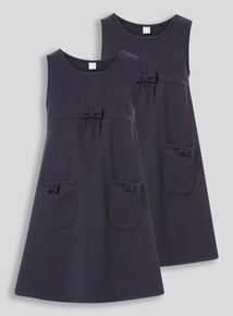 Navy Jersey Pinny Dress 2 Pack (3-12 years)