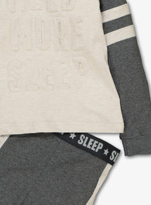 "Grey ""Need More Sleep"" Pyjama Set (4 - 14 years)"