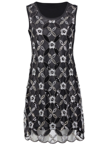 IZABEL Black Embellished Sequin Dress