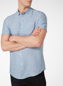 Blue Chambray Linen Shirt