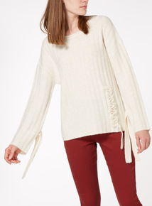 Tie Front And Sleeve Jumper