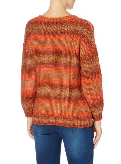 Knitting Pattern For Gruffalo Jumper : Womens Orange Striped Cable Knit Jumper Tu clothing