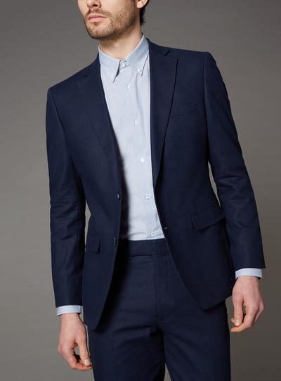 Navy Linen Herringbone Suit Jacket