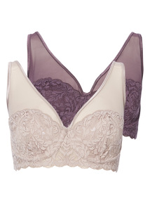 2 Pack Non-Padded Leaf Lace Plunge Bras