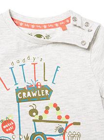 Grey Little Crawler Print T-Shirt (0-24 months)