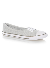 Grey Low Lace Up Canvas Shoes