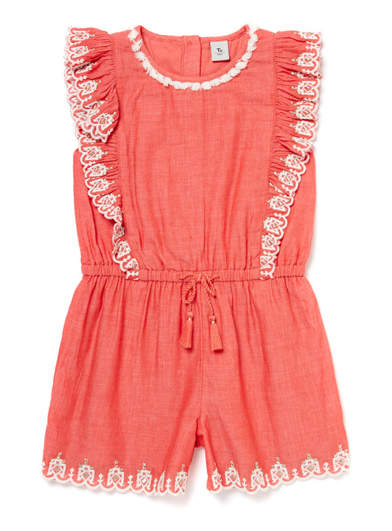 Red Frill Trim Playsuit (9 months-6 years)