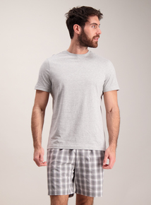 Grey Marl & Blur Check Pyjama Set