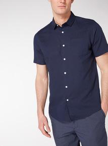 Dark Navy Regular Fit Linen Rich Shirt