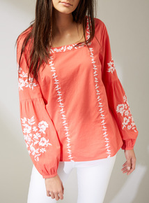 Premium Coral Embroidered Blouse