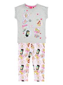 Grey Disney Princess Badge PJ Set (18 months - 10 years)