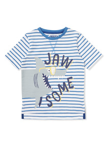 Blue and White Stripe 'Jawsome' T-Shirt (9 months-6 years)