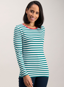 Green Nautical Stripe Long Sleeve Top