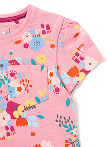 Pink Flower Print Jersey Dress (9 months-6 years)
