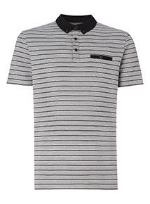 Grey Stripe Polo Shirt