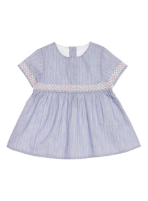 Blue Embroidered Dobby Stripe Top (0 - 24 months)