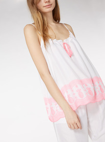 Embroidered Hem Cami Top