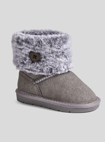 Grey Suede Borg Collar Boots (6 infant - 4 child)