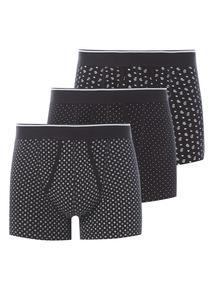 Black Patterned Trunks 3 Pack