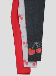 Multicoloured Cherry Pie Leggings 3 Pack (9 Months-6 Years)