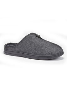 Grey Wool Blend Mule Slippers